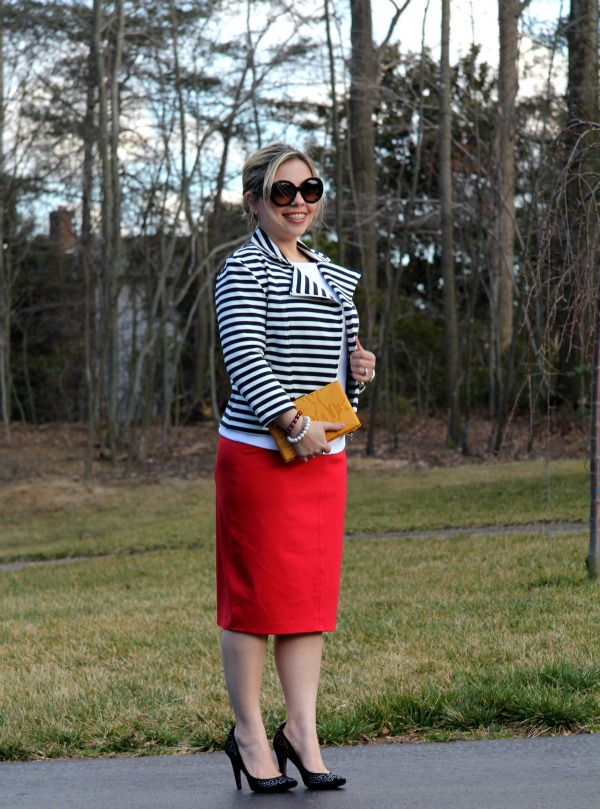 Red Pencil Skirt -TJ Maxx, Essential Boat Neck White Top - Forever 21, Stripe Jacket Old - Forever 21, Peake Pumps - Aldo, Baroque Round Sunglasses - Prada, Silver and Golden Stainless Steel Camille Chronograph - Michael Kors, Bag - TJ Maxx
