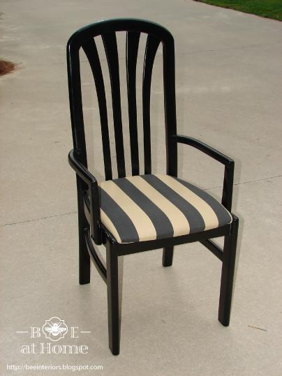 B e interiors recovered dining chair tutorial for Telas para tapizar sillas comedor