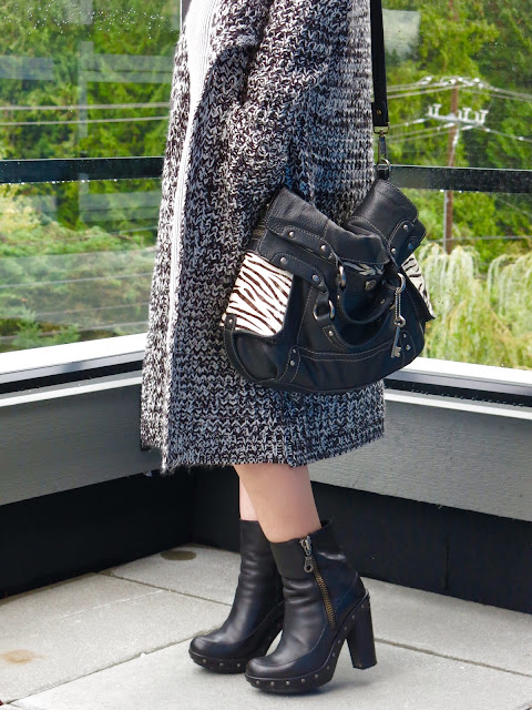 sweater coat, Kork-Ease booties, and Fossil bag