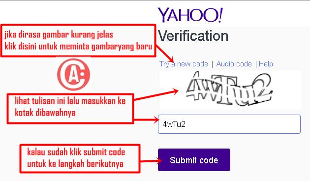 cara membuat / mendaftar email baru di yahoo - captcha verifikasi