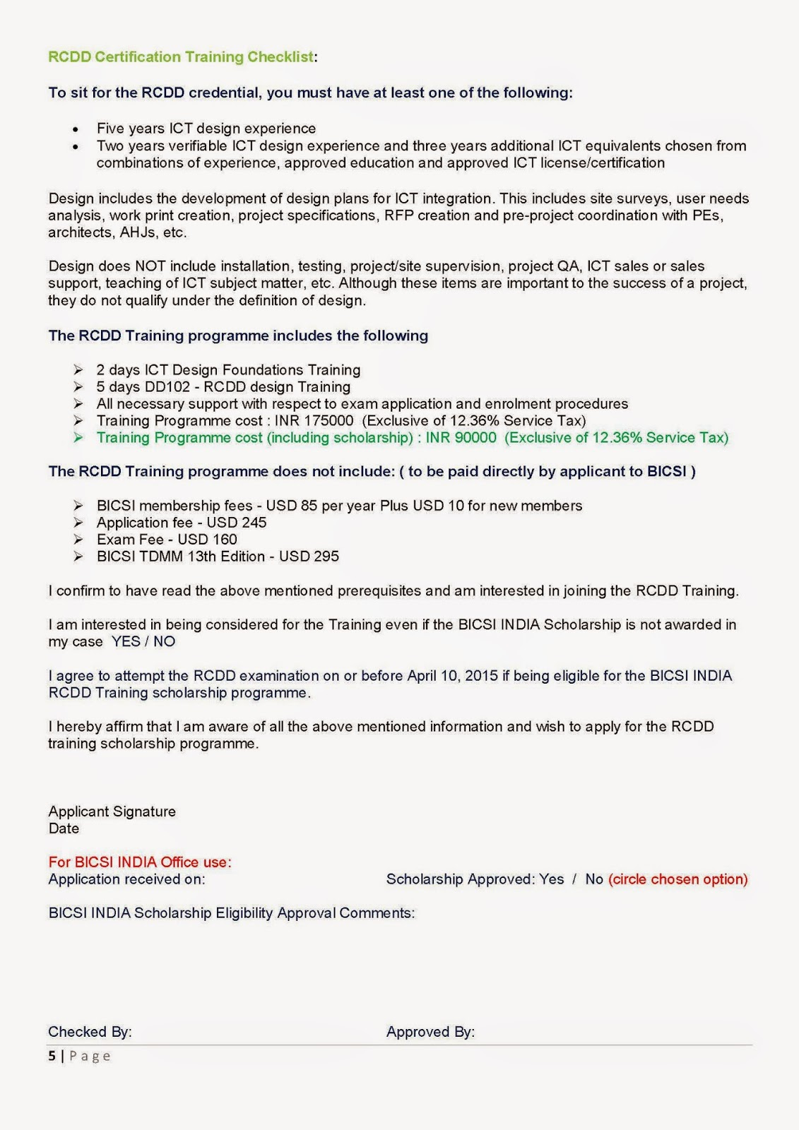 Bicsi India Rcdd Training Scholarship Application Form Bicsi India