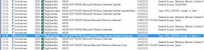 Algunos procesos generados por el malware, capturados en Process Monitor.