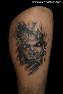 Chucky, the killer puppet - 3d tattoo on the leg