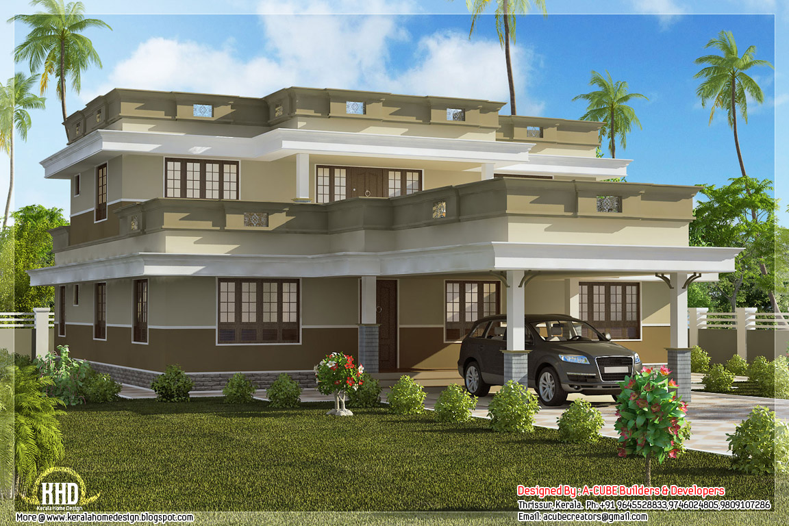 Flat Roof Home Design With 4 Bedroom Kerala Home Design And Floor Plans