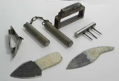 collection of homemade weapons