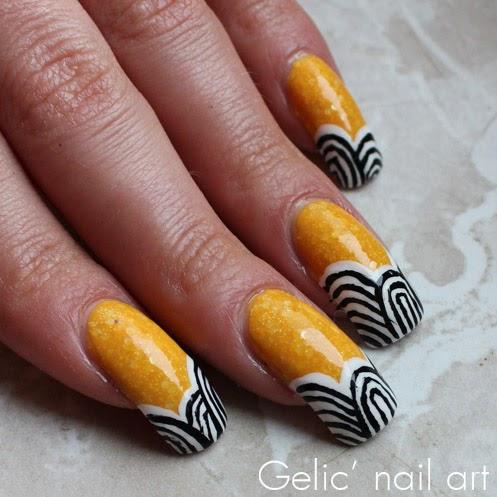 Gelic Nail Art Zentangle Pattern Nail Art In Yellow Black And White