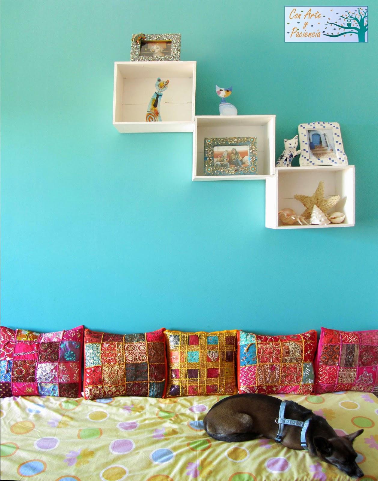 Ante todo con arte y paciencia decorar una estancia - Azul turquesa pared ...