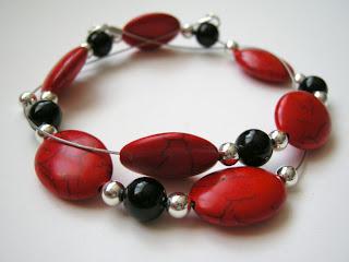 biżuteria z półfabrykatów - czerwień z czernią (naszyjnik)