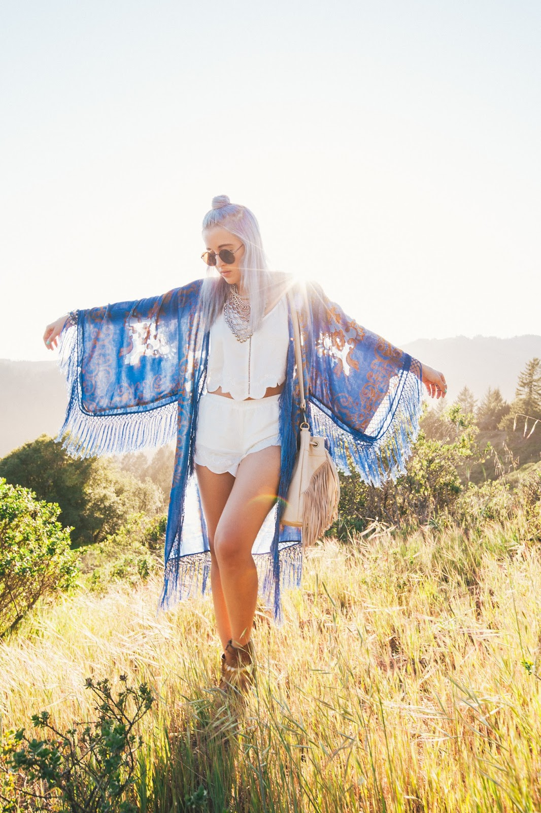Top Knot for Festival Season, long velvet burnout kimono, matching short suit by mink pink.