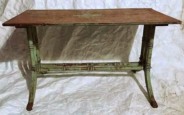 Hollywood Regency Faux Bamboo Shabby Painted Table