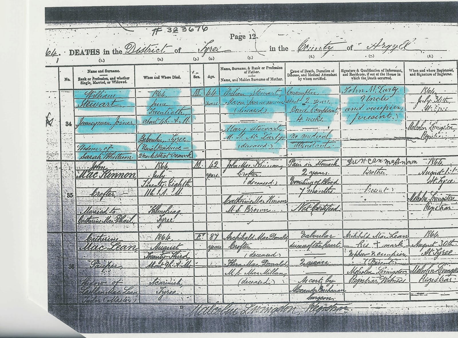 Death Certificate of Mary McLarty's son William