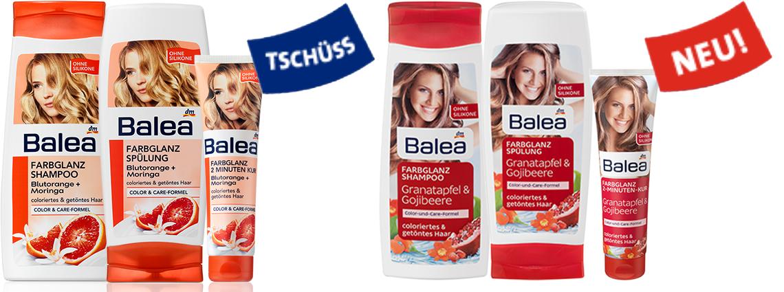 Balea Farbglanz Shampoo, Spülung, 3 Minuten Kur, neues Design