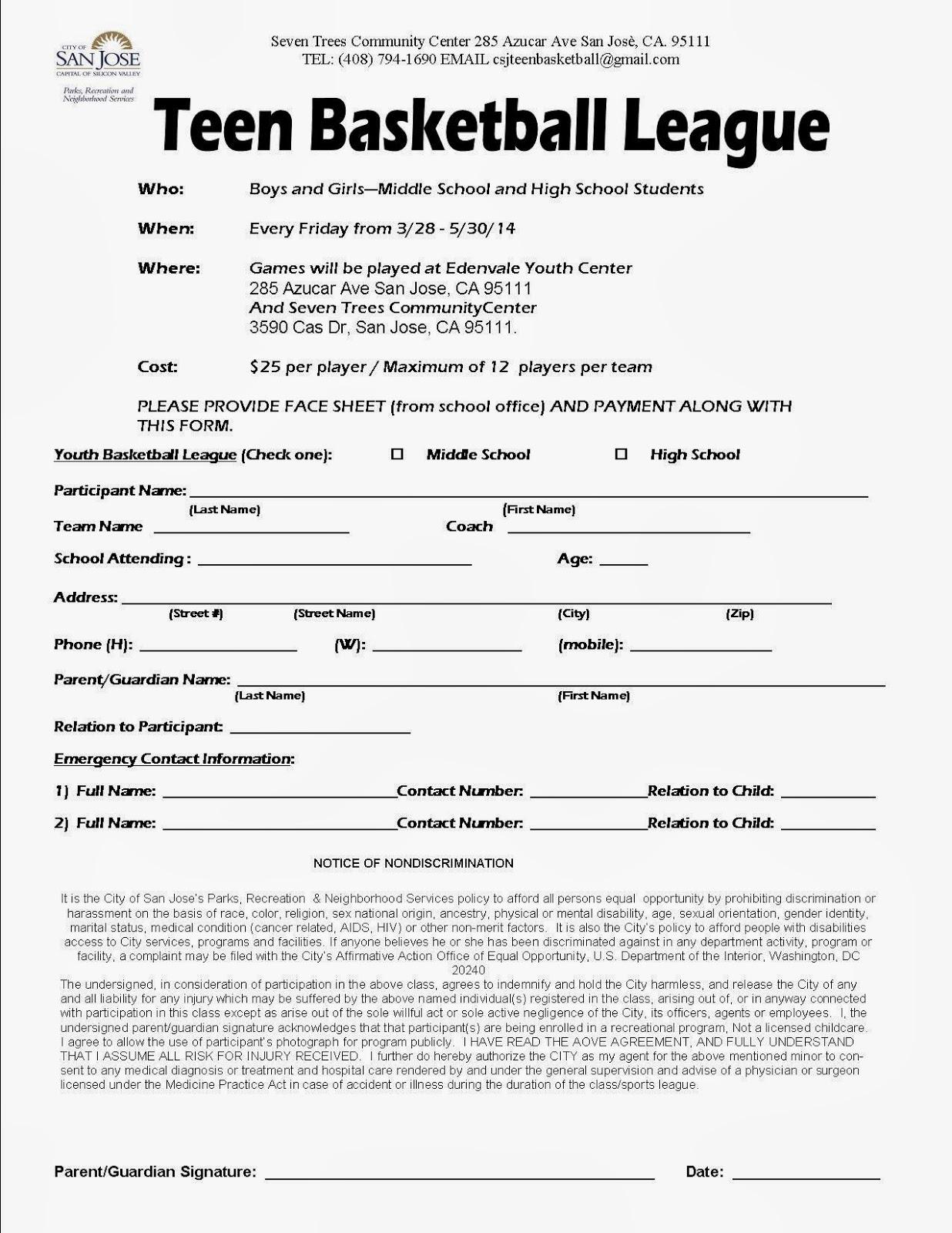 City of San José Teen Basketball: Register
