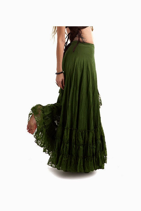LONG GYPSY SKIRT, flamenco skirt, long wrap skirt, dark green hippy skirt, boho lace skirt, lace gypsy skirt, floaty tribal fusion dance