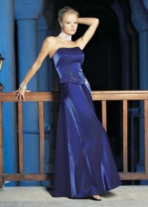 Blue Strapless Evening Dress
