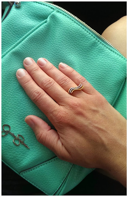 Jessica Simpson mint crossbody handbag and stackable rings from Team Pastor Boutique on Etsy