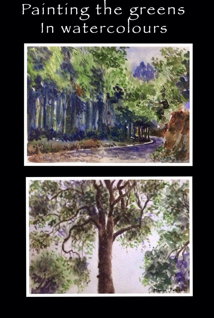 Water colour painting of forest, tree done using camel artists quality water colour tubes. By Manju Panchal