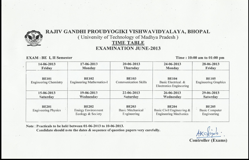 Rajiv gandhi proudyogiki vishwavidyalaya rgpv b e 1st and for Rgpv time table 6th sem 2015