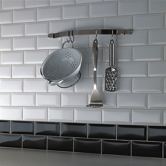 Amazing Above: Bevelled Edge Tiles Will Suit Both Traditional And Contemporary  Styled Kitchens. Breaking Up The White Tiles With A Double Row Of Black  Tiles, ...