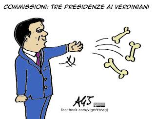 verdini, commissioni, maggioranza, vignetta satira