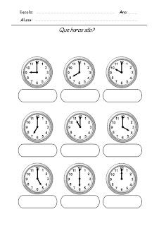Atividade com horas Relógios para Completar - Que horas são