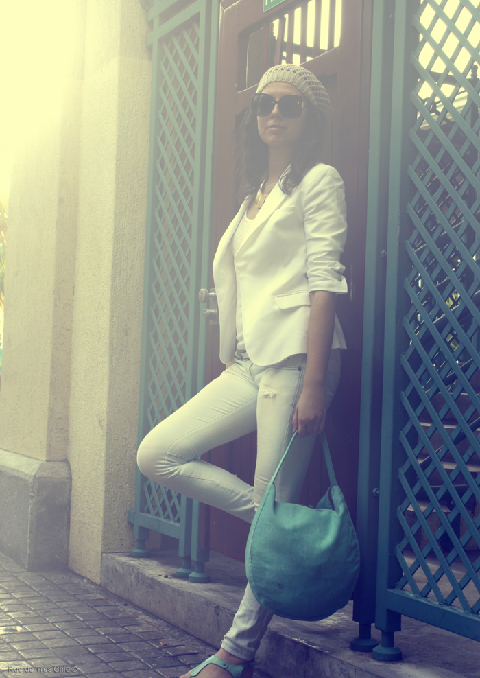 white outfit blazer fashion blog style