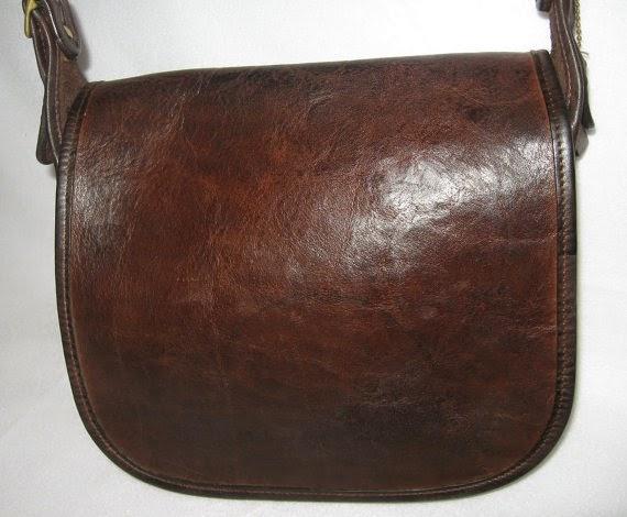 Vintage Coach Brown Leather Saddle Bag Purse