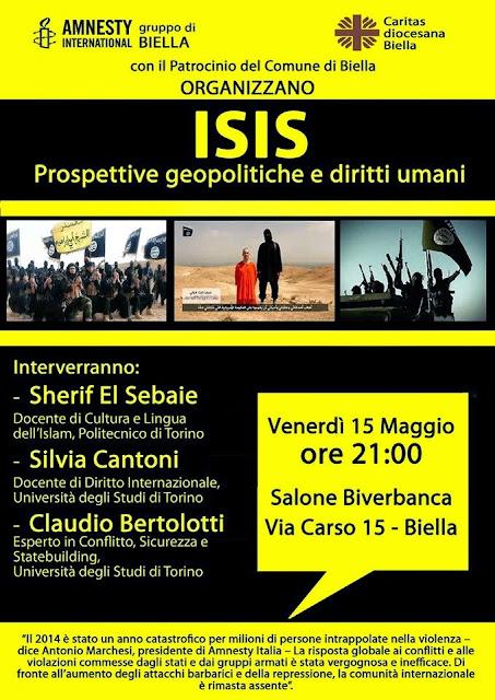 15 maggio BIELLA CONFERENZA e DIBATTITO: ISIS prospettive geopolitiche e diritti umani
