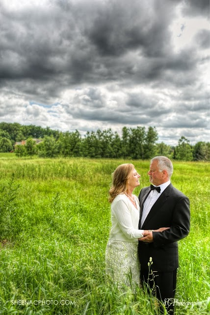 HDR bridal portrait clouds stunning field