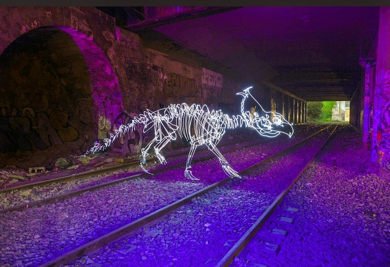 13-Pachyrhinosaurus-Darren-Pearson-Dinosaurs-Palaeontology-Skeletons-and-Angels-in-Light-Paintings-www-designstack-co