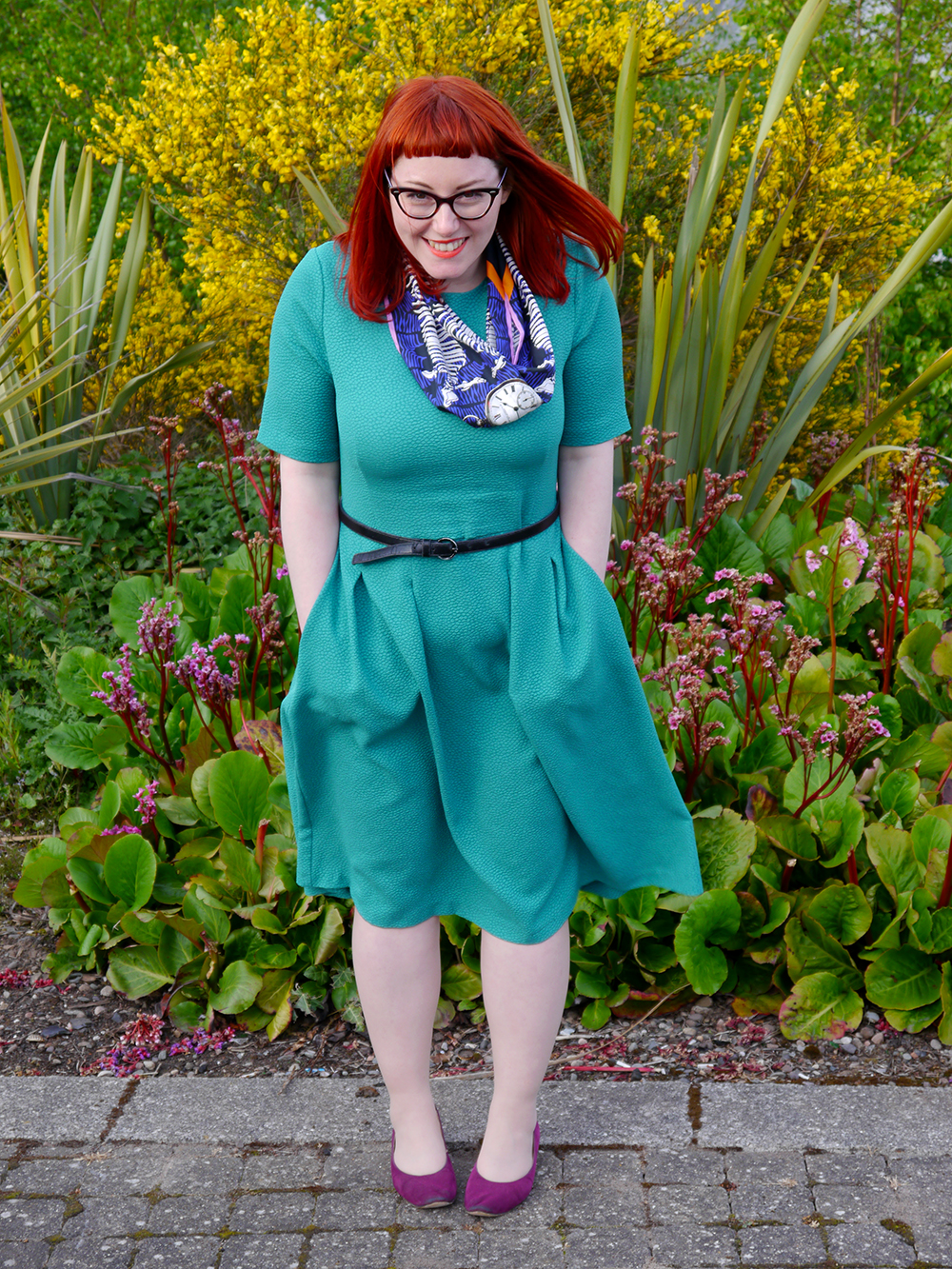 What Helen Wore, Scottish Blogger, Dundee blogger, what's on in Dundee, Duncan of Jordanstone College of Art and Design, Degree Show 2015, DJCAD Degree Show 2015, Claire Corstorphine Luxury Scarf, H&M green textured dress, red head, ginger, Scottish style