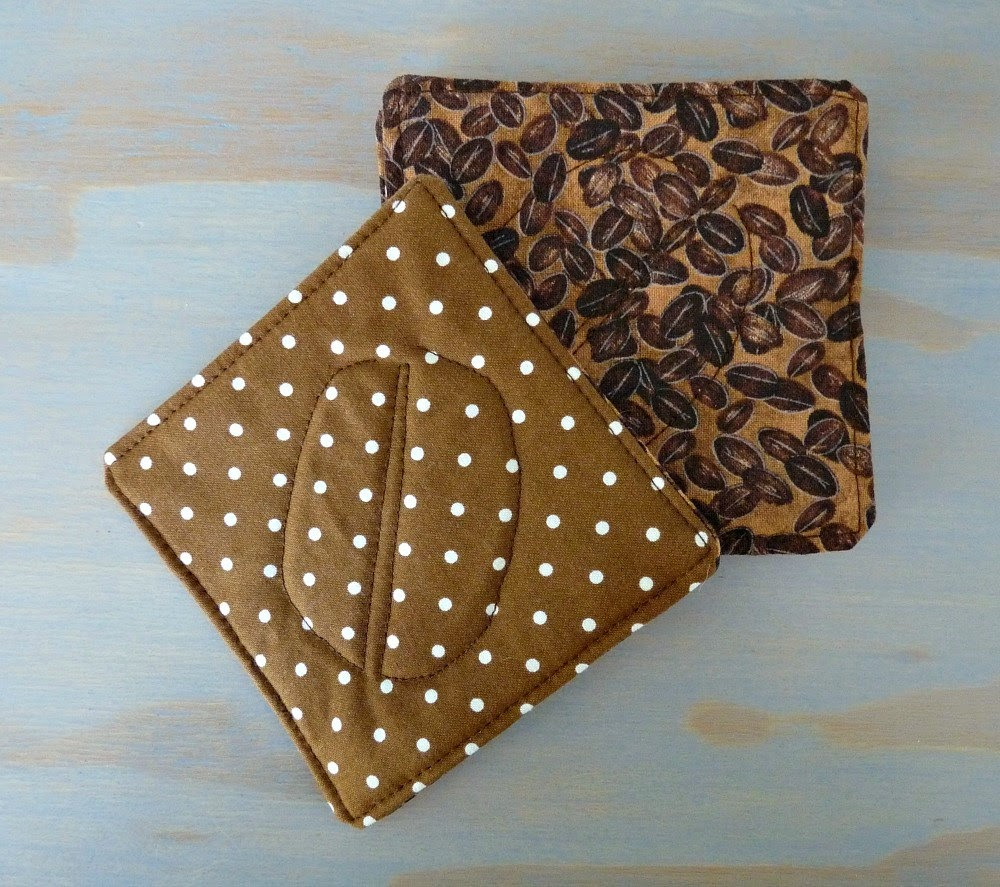 Polka Dot Coffee Bean Coaster Quilted