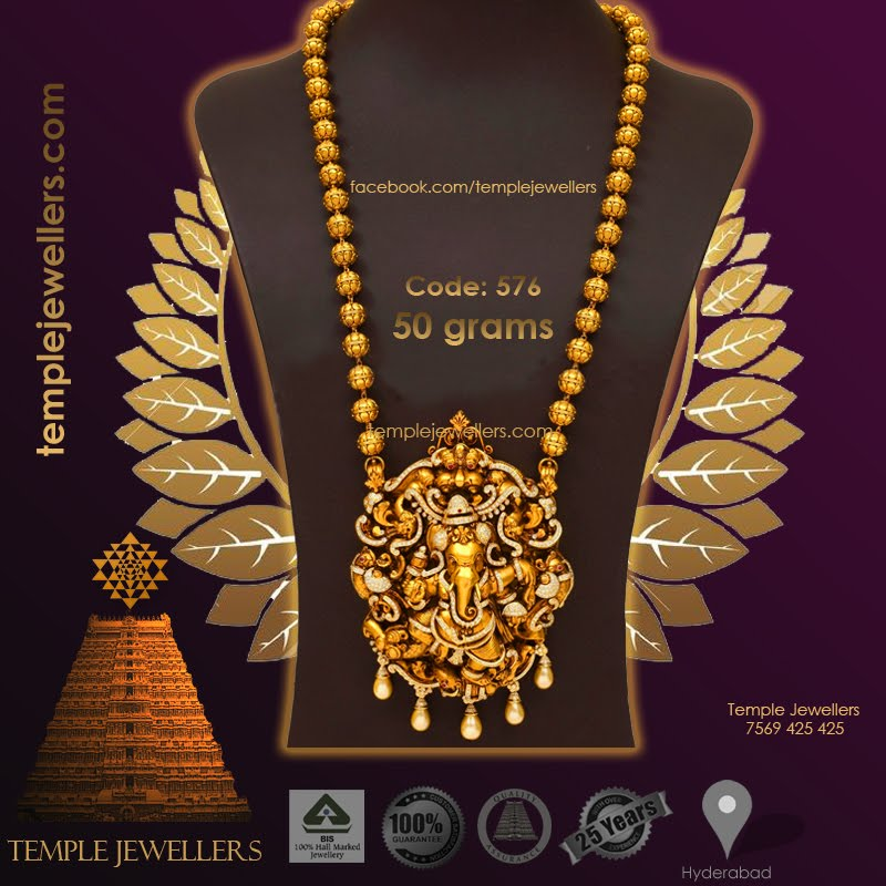 Ganesh pendant gold beads necklace mozeypictures Image collections