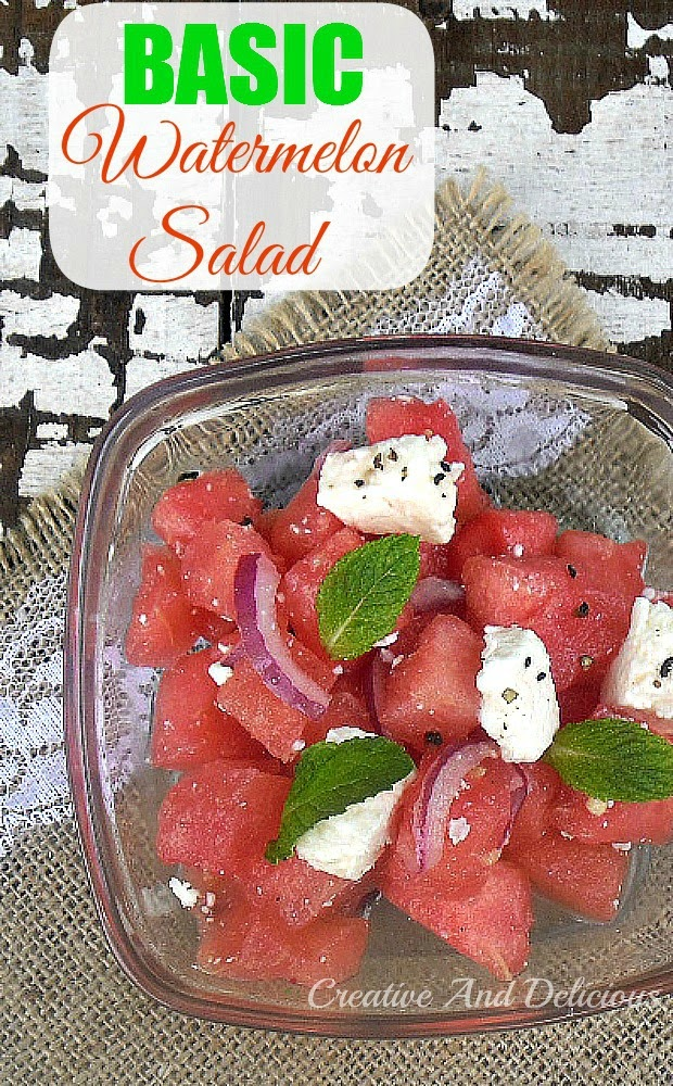 Basic Watermelon Salad ~ Delicious and refreshing and so EASY to make #Salad #SummerSalad