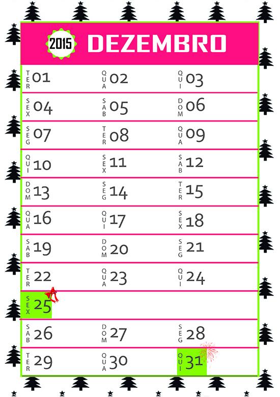calendario, dezembro 2015, folhinha, folha do mes, calendar