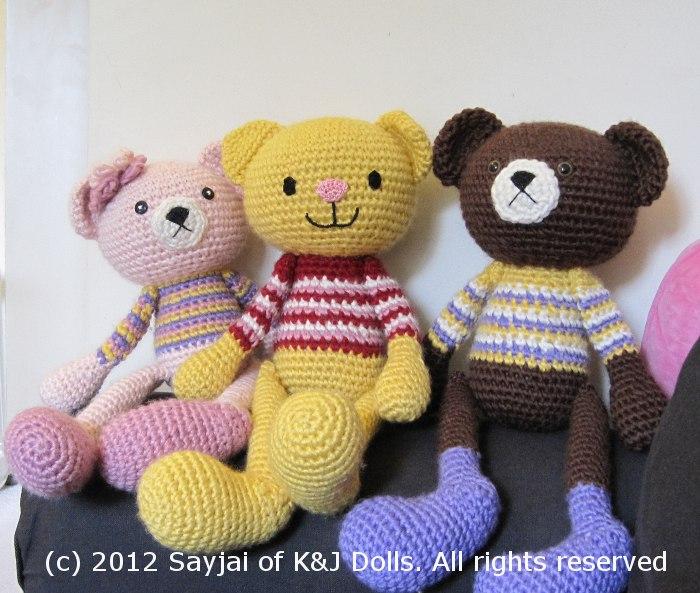 Amigurumi Crochet Patterns K And J Dolls : Bear and Cat Huggable Doll Pattern - Sayjai Amigurumi ...