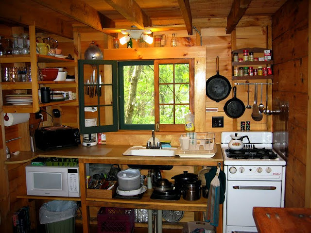 Tiny cabin kitchens omahdesigns net for Kitchen setup ideas