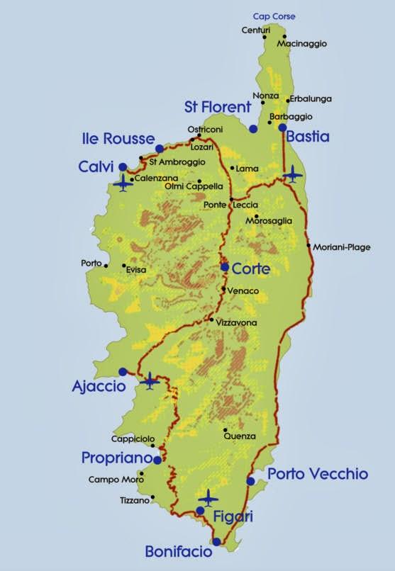 Carte de la r gion corse carte france d partement r gion - Office de tourisme propriano ...