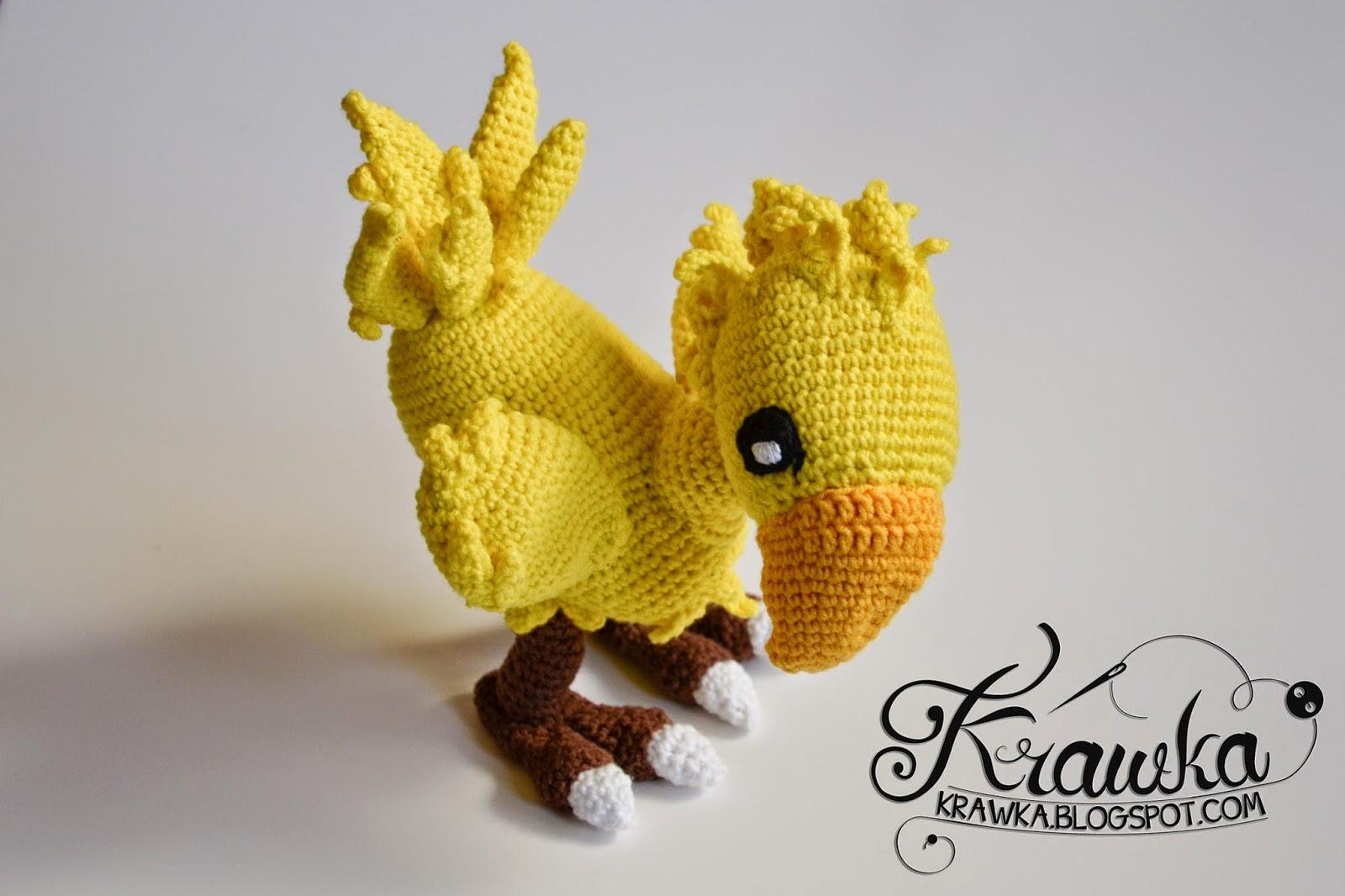 Krawka: Chocobo from Final Fantasy - crochet plush, wired inside - fully adjustable.