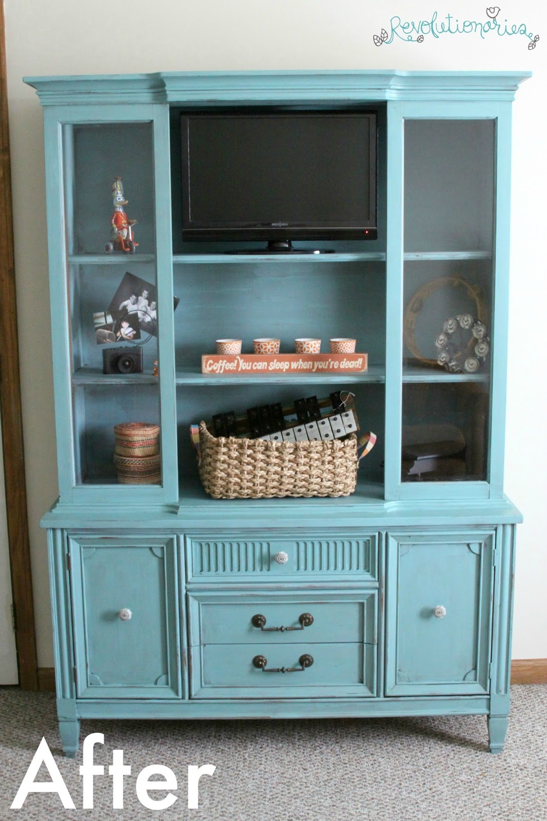 Revolutionaries Before And After Repurpose China Cabinet Into Entertainment Center