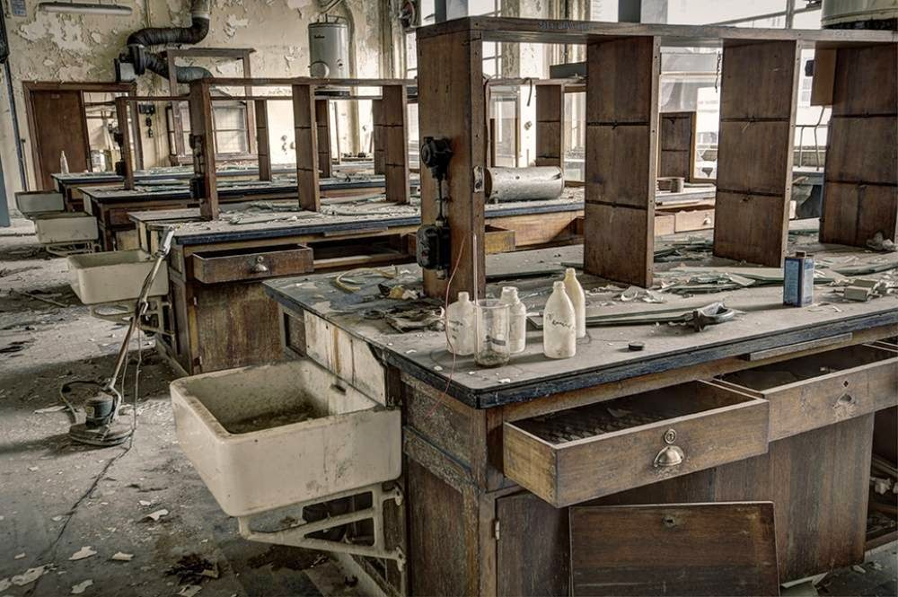 Chemical laboratory in the abandoned University, Belgium
