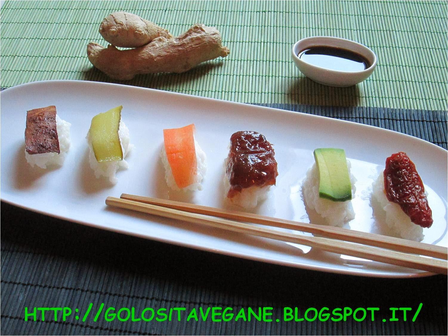 aceto di riso, Antipasti, avocado, carote, cetriolini, maki, malto, nigiri, pomodori secchi, prugne, ricette vegan, riso, shoyu, sushi, tamari, tofu, zenzero,