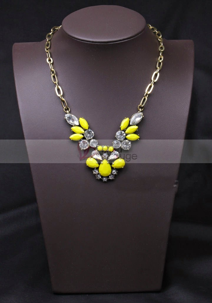 Collier fantaisies motif fleur Jaune et transparent joli - Chouchourouge