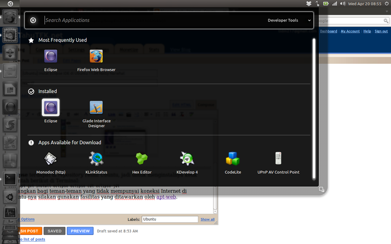 Mengakses Eclipse IDE di Ubuntu 11.04 Natty Narwhal