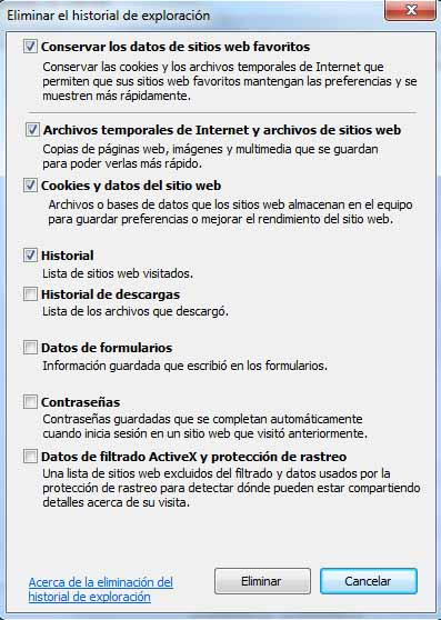 Internet Explorer - Eliminar historial navegacion