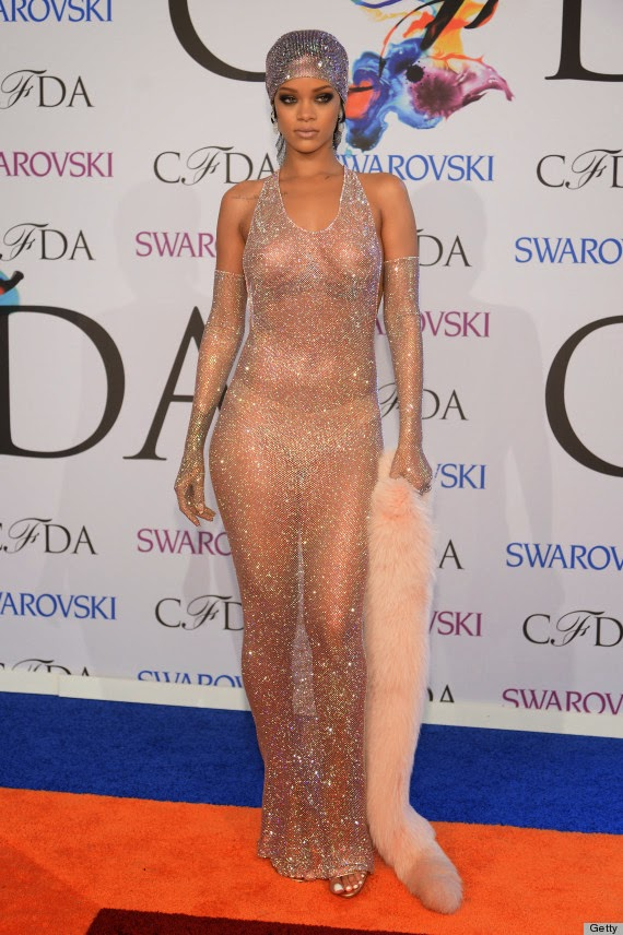 Rihanna Amazing in a Nipple-Baring, G-String Nude Dress