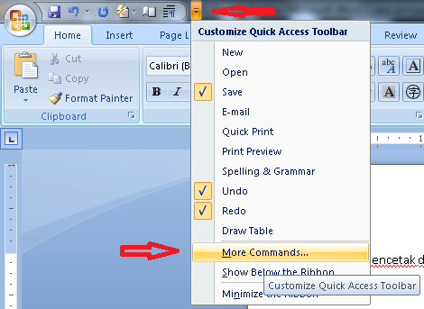 how to get more commands on microsoft word