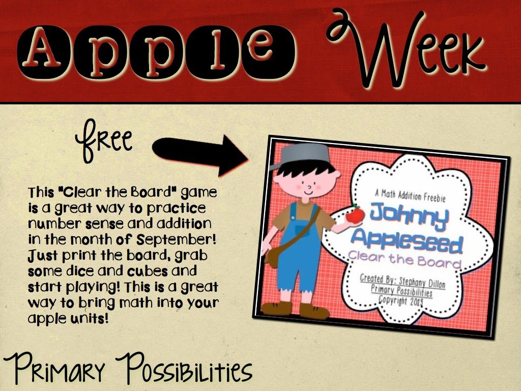 http://www.teacherspayteachers.com/Product/Johnny-Appleseed-Clear-the-Board-Math-Freebie-877107