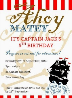 Boy's Pirate party printable birthday invitation. Print it yourself! DIY party ideas and printable stationery at Love That Party