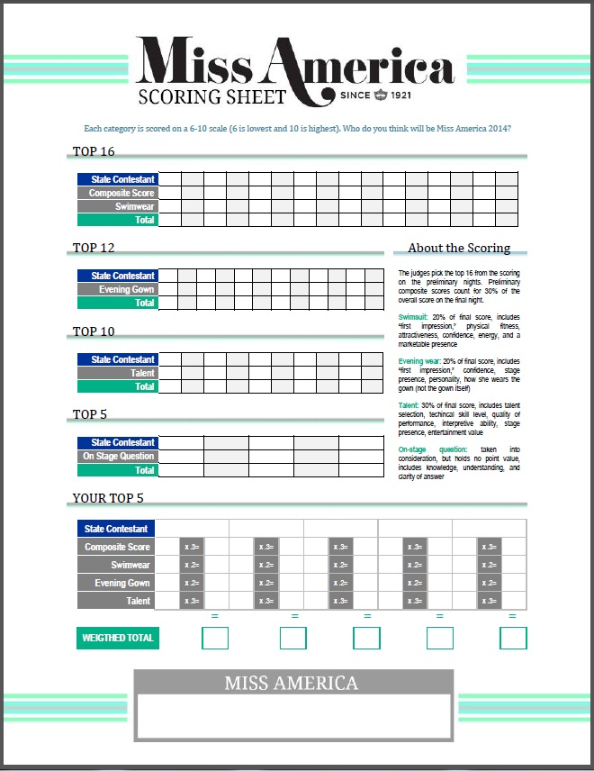 Beauty Pageant Judging Score Sheet